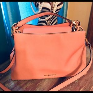 Michael Kors coral and gold satchel